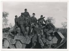 Knight´s cross officer Heinz Reverchon on tank at Trek Russia
