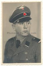 Portrait Waffen SS Sturmmann mit Schirmmütze