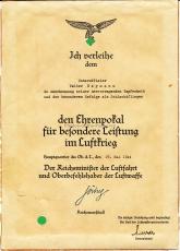 Verleihungsurkunde zum Ehrenpokal für besondere Leistungen im Luftkrieg Schlachtflieger Walter Heymann Luftwaffe