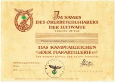 Verleihungsurkunde Kampfabzeichen der Flakartillerie 4. / Flakscheinwerfer Abteilung 650