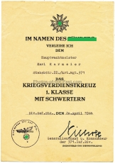 Urkundengruppe für einen Hauptwachtmeister KvK 1. und 2. Klasse - Deutsches Schutzwall Ehrenzeichen - Medaille Winterschlacht im Osten