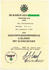 2 Verleihungsurkunden Kriegsverdienstkreuz 2. Klasse und Medaille Winterschlacht im Osten.