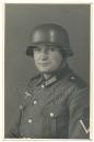 Portrait signaller Wehrmacht Army with steel helmet