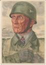 Willrich VDA Ritterkreuzträger Postkarte Fallschirmjäger Oberst Bräuer