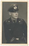Portrait Panzermann Panzer Regiment Großdeutschland mit Schirmmütze GD Schulterklappen und Ärmelband