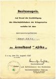 Besitzzeugnis Ärmelband Afrika Kriegsmarine - Rom Italien 1943