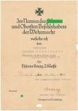 Urkunde Eisernes Kreuz 2. Klasse 6./ Ln.-Abt. (mot) 41