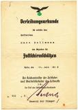 Verleihungsurkunde Abzeichen für Fallschirmschützen - Fallschirmjäger Luftwaffe 1942