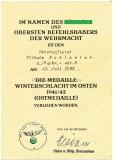 Verleihungsurkunde Medaille Winterschlacht im Osten - Nachrichten Abteilung 6