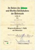 Verleihungsurkunde Kriegsverdienstkreuz 2. Klasse mit Schwertern 3./Ln. Abt. 124