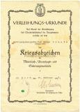 Verleihungsurkunde Kriegsabzeichen für Minensuch-, Ubootsjagd- und Sicherungsverbände - Kriegsmarine