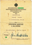 Verleihungsurkunde Eisernes Kreuz 2. Klasse Sturmgeschütz Abteilung 232
