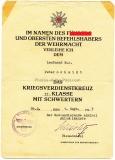 Urkunde Kriegsverdienstkreuz 2. Klasse - Kriegsmarine KvK Verleihungsurkunde
