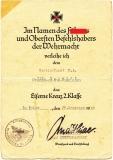 Urkunde Eisernes Kreuz 2. Klasse - Verleihungsurkunde EK II - Dezember 1944
