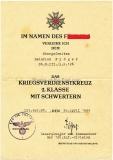 Urkunde Kriegsverdienstkreuz 2. Klasse - KvK Verleihungsurkunde Artillerie Regiment 126