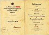 2 Dokumente Urkunde zum Eisernen Kreuz 2. Klasse und Besitzzeugnis zum Verwundetenabzeichen in schwarz.