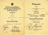 Urkunde Eisernes Kreuz II. Klasse und Besitzzeugnis Verwundetenabzeichen Infanterie Regiment 556