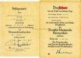 Urkunden Gruppe eines Soldaten der Panzer Jäger Abt. 179 Deutsches Schutzwall Ehrenzeichen Ostmedaille Eisernes Kreuz II. Klasse 2x Verwundetenabzeichen in schwarz