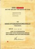 Urkunde zur Kriegsverdienstmedaille an Kameradschaftsführer aus Lerbeck