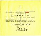 Druckstück Traueranzeige von der Stadt Bad Wildungen zum Gefallenentode von SS Oberscharführer Adolf Schotte 1944