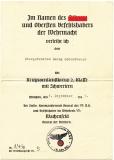 Urkunde und Vorschlagsliste Kriegsverdienstkreuz II. Klasse mit Schwertern 1. Komp. Land. Schütz. Batl. 507 Ingolstadt 1941