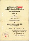 Urkunde Kriegsverdienstkreuz 2. Klasse mit Schwertern für einem Stabsfeldwebel der Landesschützenkompanie Litzmannstadt