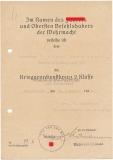 Urkunde Kriegsverdienstkreuz 2. Klasse mit Schwertern für einen Gefreiten der Nachrichten Kompanie 306