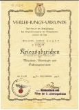 Verleihungs Urkunde Kriegsabzeichen für Minensuch U Bootsjagd und Sicherungsverbände für einen Matrosen Gefreiten 1944