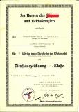 Dokumente Urkunde Dienstauszeichnung IV. Klasse Artillerie Regiment 52 und Beförderung zum Oberwachtmeister Artillerie Regiment 169