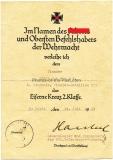 EK II Urkunde für einen Pionier vom Pionier Bataillon 263