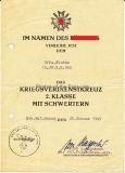 Verleihungsurkunde zum Kriegsverdienstkreuz II. Klasse für einen Unteroffizier des Volksgrenadier Regiment 952 ausgestellt am 30. Januar 1945