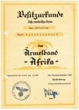 3 Dokumente Deutsches Afrika Korps 2 Besitzurkunden Ärmelband Afrika Erinnerungsmedaille für den italienisch deutschen Feldzug in Afrika und Besitzzeugnis Verwundetenabzeichen in Schwarz