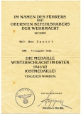 Verleihungsurkunde Winterschlacht im Osten für einen Gefreiten der Kfz.-Instandsetzungs-Abteilung 567