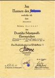 Urkunde Deutsches Schutzwall Ehrenzeichen Unterschrift Kommandeur Friedrich Fluhrer Pionier Bataillon 16 Minden