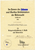 Urkunde Kriegsverdienstkreuz 2. Klasse mit Schwertern Unterschrift General der Flieger Wilhelm Mayer