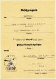 Besitzzeugnis Panzerkampfabzeichen in Bronze für einen Schützen im Kradschützen Bataillon 16