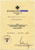 Urkunde Eisernes Kreuz 2. Klasse Besitzzeugnis Panzerkampfabzeichen in Bronze und Besitzzeugnis Verwundeten Abzeichen in Schwarz für einen Uffz im Panzer Grenadier Reg. 28