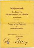 Verleihungsurkunde Flakkampfabzeichen für einen Uffz. der Flakabteilung 501