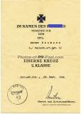 Urkunde Eisernes Kreuz 2. Klasse für einen Uffz. im Fallschirm Artillerie Regiment 12