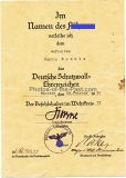 Urkunde Deutsches Schutzwall Ehrenzeichen für einen Gefreiten im Pionier Bataillon 26 Unterschrift Major und Batl. Kommandeur Herbert Noske