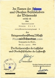 Urkunde Kriegsverdienstkreuz 2. Klasse für einen Uffz. im Flakersatzregiment 4