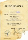 Urkunde Medaille Winterschlacht im Osten und Besitzzeugnis Demjanskschild für eien Stabsveterinär im Grenadier Regiment 503