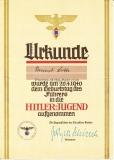 Urkunde für die Aufnahme in die Hitler Jugend am 20.4.1940 dem Geburtstag des Führers