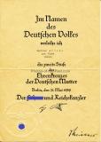 Verleihungsurkunde zur zweiten Stufe des Ehrenkreuzes der Deutschen Mutter