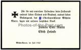 Todesanzeige Waffen SS Obersturmführer Wilhelm Marre aus Witten Annen 1942