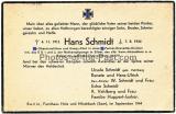 Todesanzeige Waffen SS Obersturmführer Hans Schmidt Komp. Chef einer SS Panzer Grenadier Division gefallen in Avranches Normandie Frankreich 1944 Träger der Nahkampfspange in Silber