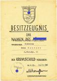 Krimschild Besitzzeugnis für einen Gefreiten im Infanterie Regiment 32 - 24. Infanterie Division