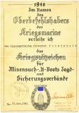 Eisernes Kreuz 1. Klasse Urkunde für einen Leutnant der 20. Gebirgs-Armee - Unterschrift General der Gebirgstruppe Franz Böhme Ausgestellt am 5.5.1945