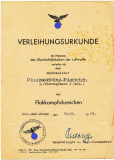 Urkunden und Dokumentengruppe für einen Angehörigen der Luftwaffe - Verleihungsurkunde Flakkampfabzeichen - Ernennungsurkunde mit original Unterschrift Franz von Epp Reichsstadthalter in Bayern 1939 - Gleitfliegerabzeichen - Medaille Oktober 1938 usw.